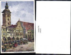 199247,Künstler AK E. F. Hofecker Budweis Ringplatz Markt Kirchenturm