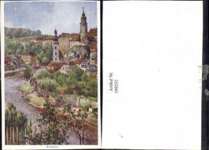 199252,Künstler AK E. F. Hofecker Krummau Teilansicht Partie