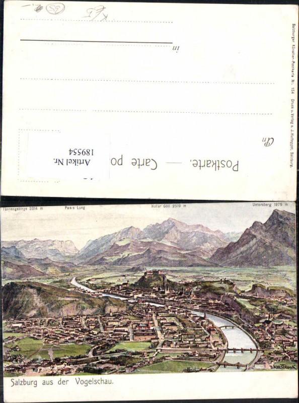 189554,Künstler AK F. Kulstrunk Salzburg aus der Vogelschau 1905 Untersberg Göll Pass Lueg