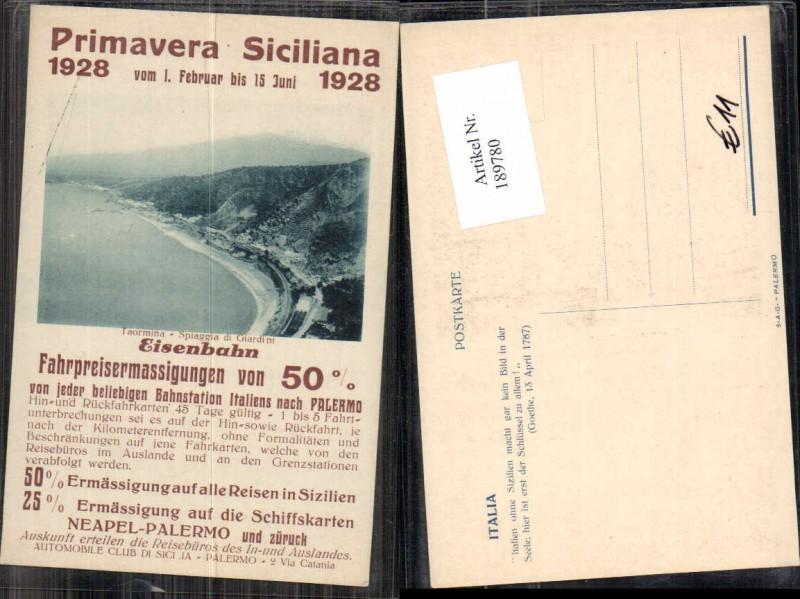 189780,Primavera Sizillien Siciliana 1928 Eisenbahn Taormina Reklame Karte