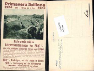 189781,Primavera Sizillien Siciliana 1928 Eisenbahn Taormina Reklame Karte