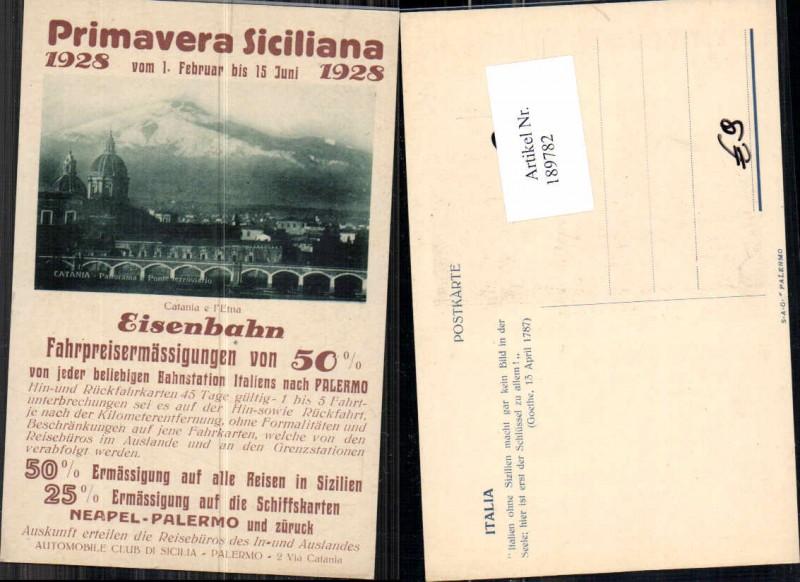 189782,Primavera Sizillien Siciliana 1928 Eisenbahn Taormina Reklame Karte