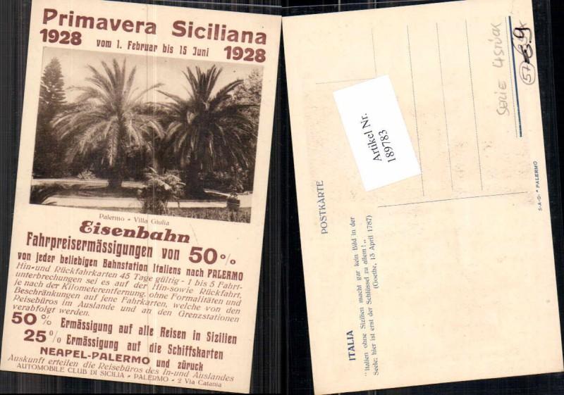 189783,Primavera Sizillien Siciliana 1928 Eisenbahn Taormina Reklame Karte  0