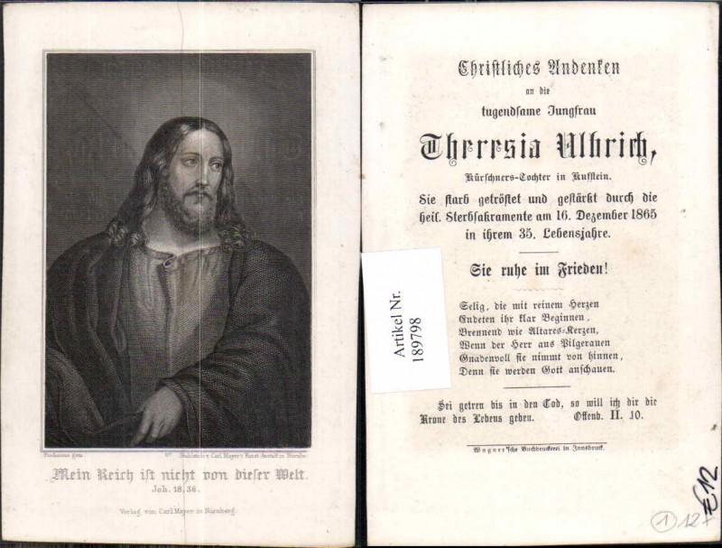 189798,Sterbebild Theresia Uhlrich Kürschner Tochter Kufstein 1865  0