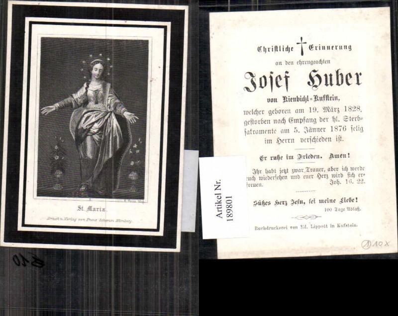189801,Sterbebild Kienbichl Kufstein Josef Huber 1876  0