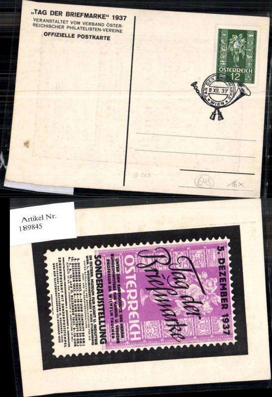 189845,Ganzsache Tag der Briefmarke 12.12.1937 Postkarte 25 Pt.  0