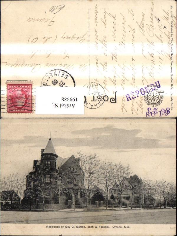 199388,Nebraska Omaha Residence of Guy C. Barton 35th in & Farnam