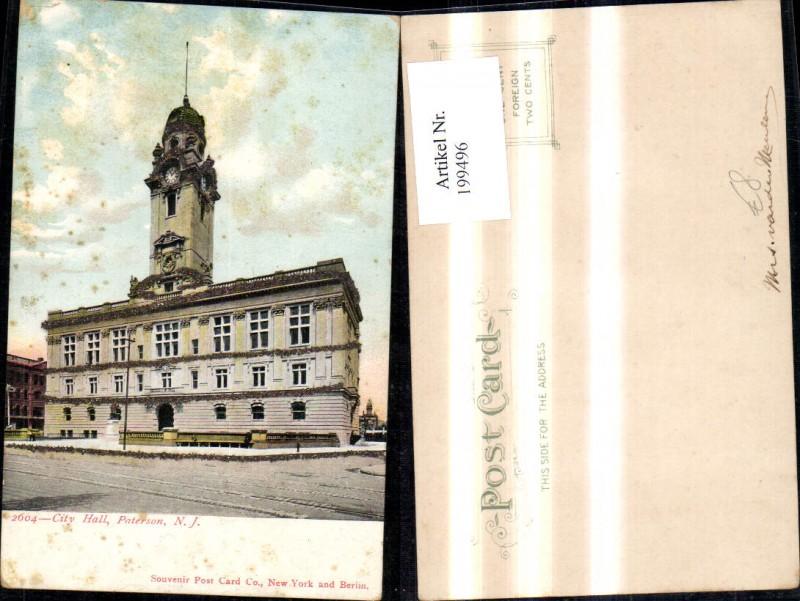 199496,New York Paterson City Hall Glitzer Ak