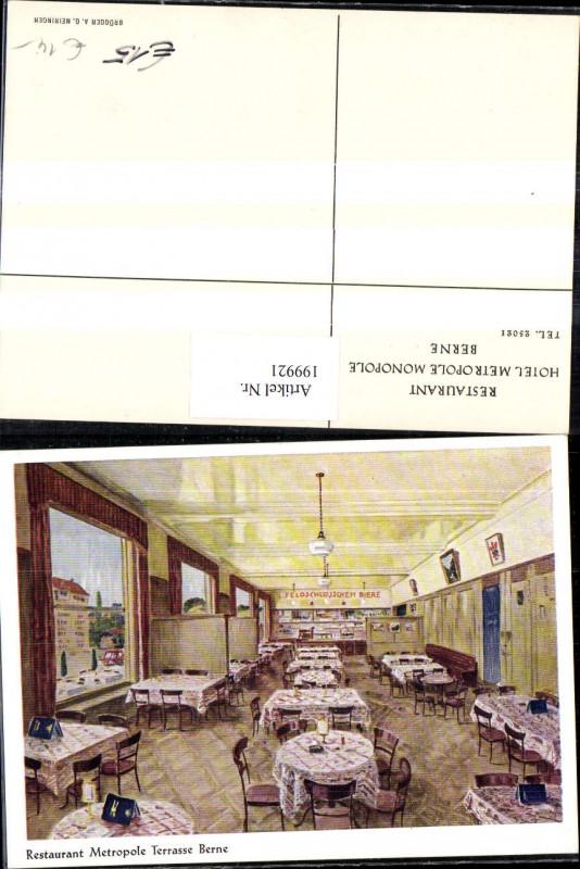 199921,Bern Restaurant Hotel Metropole Monopole Terrasse Feldschlösschen Biere Innenansicht