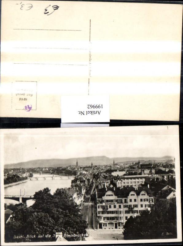 199962,Basel Teilansicht Blick auf d. 3 Rheinbrücken Brücken Elsässerhof