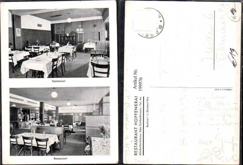 199976,Basel Restaurant Hopfenkranz Allschwilerstraße Speisesaal Innenansicht Mehrbildkarte 0