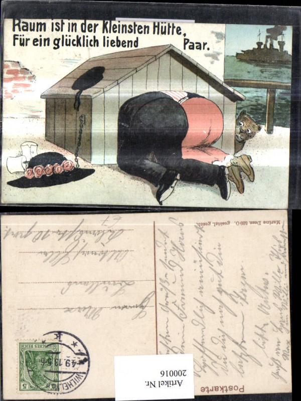 200016,Scherz Humor Liebespaar in einer Hundehütte Hut Hund