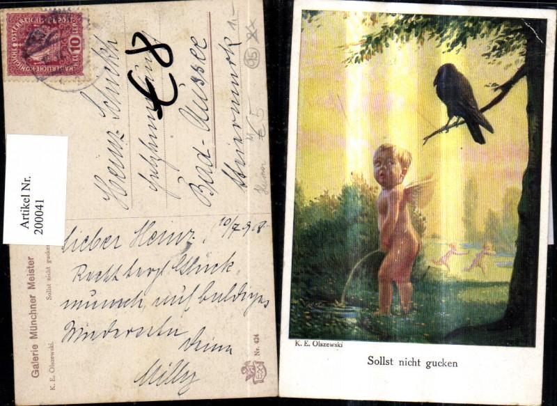 200041,Künstler AK K. E. Olszewski Scherz Humor Sollst nicht gucken Engel macht in die Wiese Raabe  0