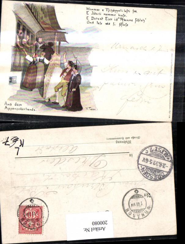 200080,Litho Künstler Ak V. Tobler Aus d Appenzellerlande Spruch Bauernhaus Personen Trachten Kt Appenzell 0