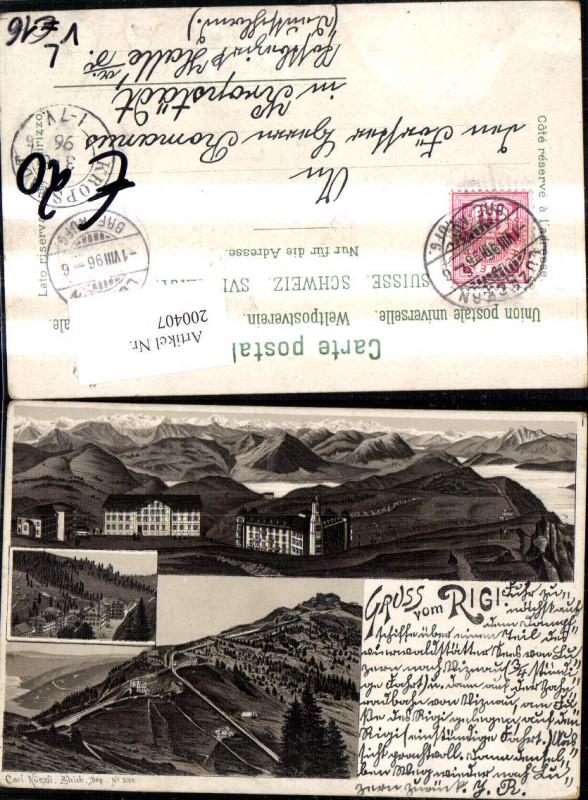 200407,Litho AK Gruß vom Rigi Mehrbildkarte pub Carl Künzli 536 Kt Luzern