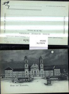200564,Mond Litho AK Gruß aus Einsiedeln Kloster Stift Kt Schwyz
