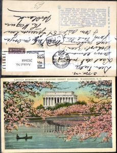 202668,Washington D. C. Lincoln Memorial and Japanese Cherry Blossoms Ruderboot