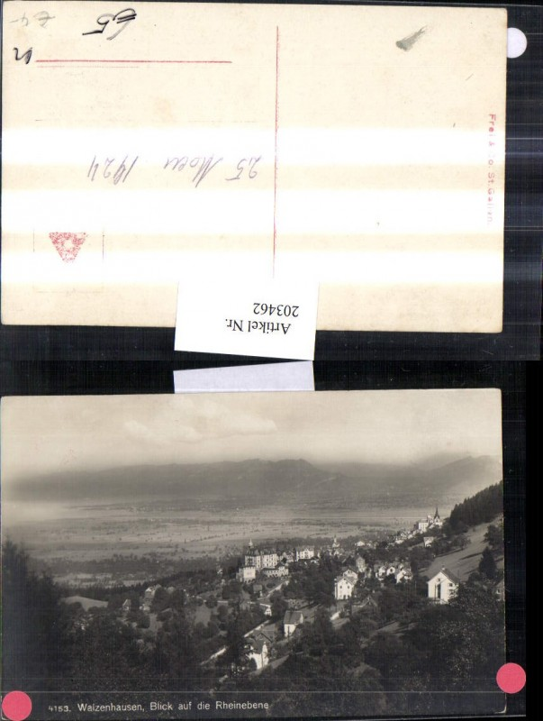 203462,Walzenhausen Teilansicht Blick auf d. Rheinebene Kt Appenzell