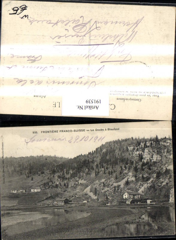 191539,Frontiere Franco-Suisse Le Doubs a Biaufond Kt Jura