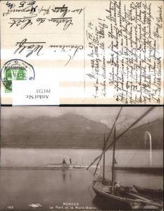 191735,Morges Le Port et le Mont Blanc Hafen Schiff Dampfer Schwan Kt Waadt