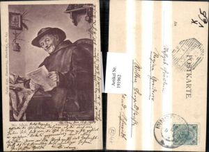191962,Künstler AK Max Scholz Amüsante Zeitungslektüre Mann m. Hut u. Brille liest eine Zeitung pub Julius Kopp 645