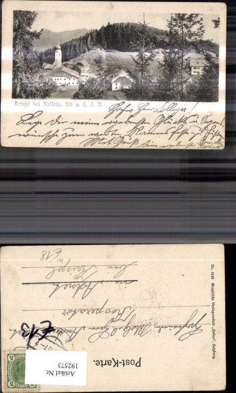 192573,Krispl b. Hallein Ansicht m. Kirche  0