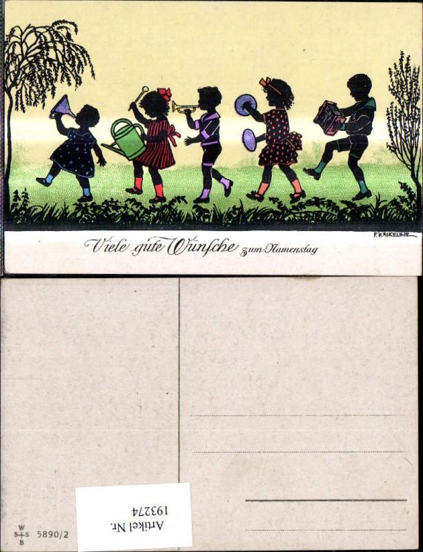 193274,Künstler Ak F. Kaskeline Scherenschnitt Silhouette Kinder Musizieren Instrumente Gießkanne Namenstag
