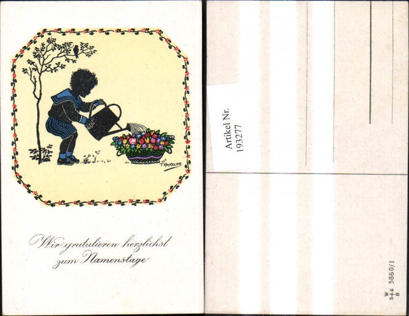 193277,Künstler Ak F. Kaskeline Scherenschnitt Silhouette Kind Junge Matrosenanzug Blumen Gießen Gießkanne Namenstag