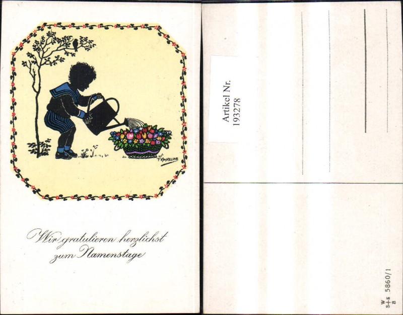 193278,Künstler Ak F. Kaskeline Scherenschnitt Silhouette Kind Junge Matrosenanzug Blumen Gießen Gießkanne Namenstag