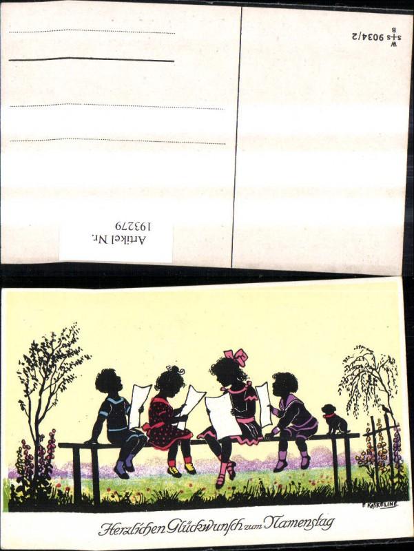193279,Künstler Ak F. Kaskeline Scherenschnitt Silhouette Kinder b. Singen Notenblätter Blatt Papier Hund Namenstag