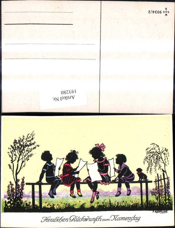 193280,Künstler Ak F. Kaskeline Scherenschnitt Silhouette Kinder b. Singen Notenblätter Blatt Papier Hund Namenstag