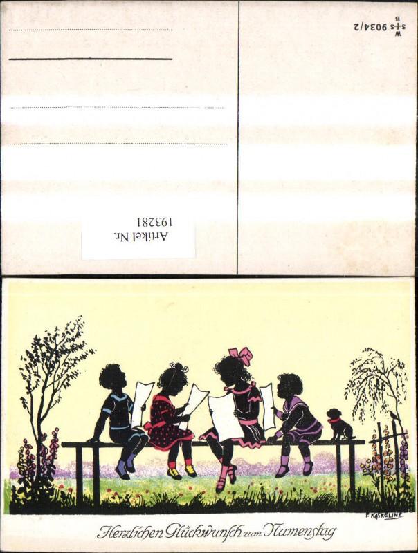 193281,Künstler Ak F. Kaskeline Scherenschnitt Silhouette Kinder b. Singen Notenblätter Blatt Papier Hund Namenstag