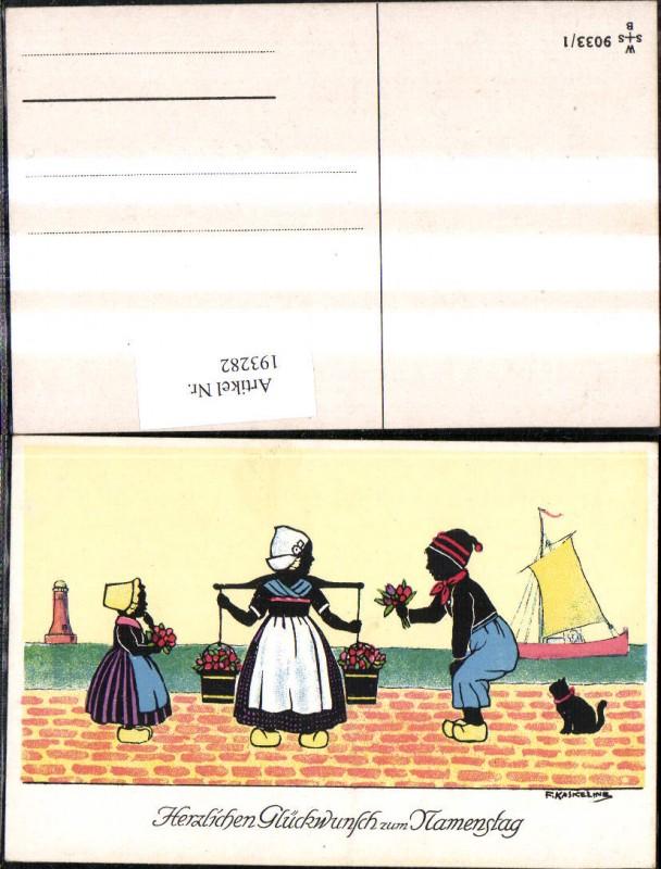 193282,Künstler Ak F. Kaskeline Scherenschnitt Silhouette Frau Mann Kind Kübel Eimer Blumen Segelschiff Katze Leuchttu