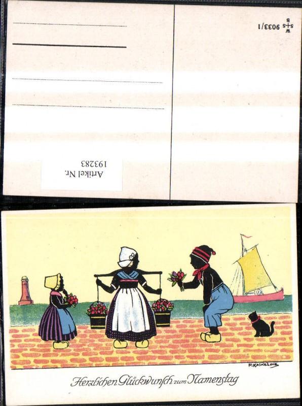 193283,Künstler Ak F. Kaskeline Scherenschnitt Silhouette Frau Mann Kind Kübel Eimer Blumen Segelschiff Katze Leuchttu