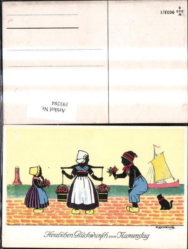 193284,Künstler Ak F. Kaskeline Scherenschnitt Silhouette Frau Mann Kind Kübel Eimer Blumen Segelschiff Katze Leuchttu