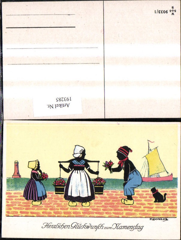 193285,Künstler Ak F. Kaskeline Scherenschnitt Silhouette Frau Mann Kind Kübel Eimer Blumen Segelschiff Katze Leuchttu