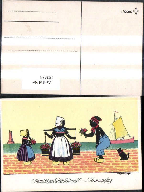 193286,Künstler Ak F. Kaskeline Scherenschnitt Silhouette Frau Mann Kind Kübel Eimer Blumen Segelschiff Katze Leuchttu