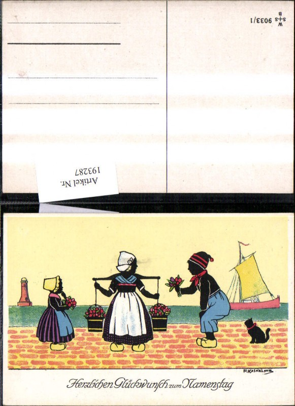 193287,Künstler Ak F. Kaskeline Scherenschnitt Silhouette Frau Mann Kind Kübel Eimer Blumen Segelschiff Katze Leuchttu