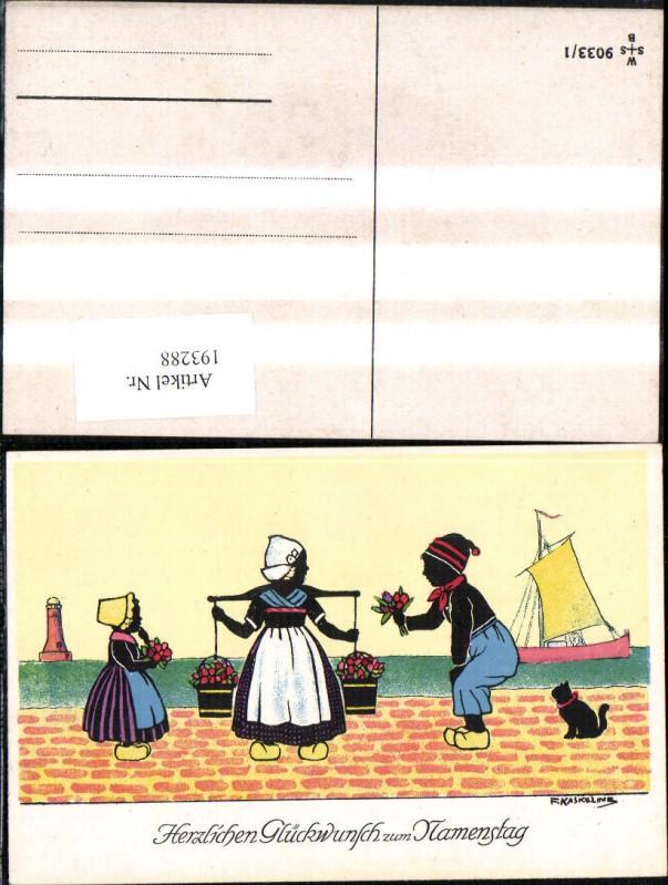 193288,Künstler Ak F. Kaskeline Scherenschnitt Silhouette Frau Mann Kind Kübel Eimer Blumen Segelschiff Katze Leuchttu