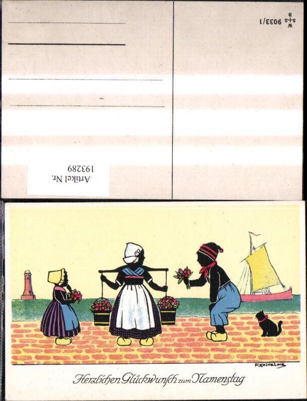 193289,Künstler Ak F. Kaskeline Scherenschnitt Silhouette Frau Mann Kind Kübel Eimer Blumen Segelschiff Katze Leuchttu