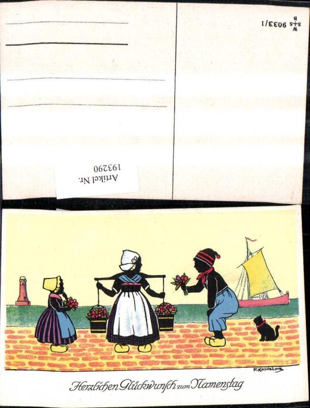193290,Künstler Ak F. Kaskeline Scherenschnitt Silhouette Frau Mann Kind Kübel Eimer Blumen Segelschiff Katze Leuchttu