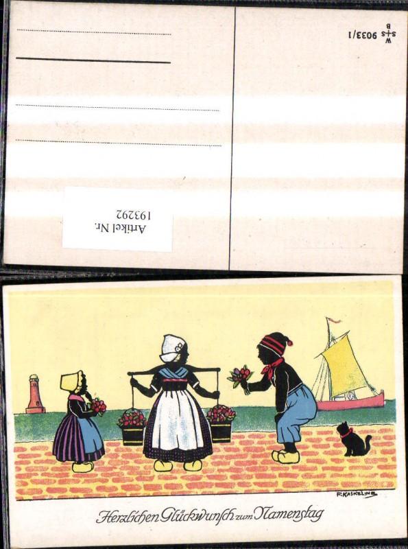 193292,Künstler Ak F. Kaskeline Scherenschnitt Silhouette Frau Mann Kind Kübel Eimer Blumen Segelschiff Katze Leuchttu
