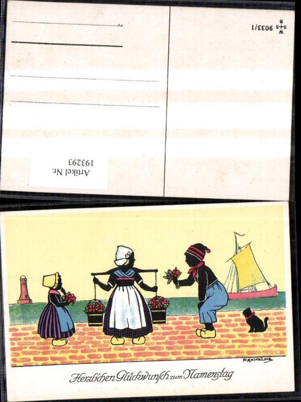 193293,Künstler Ak F. Kaskeline Scherenschnitt Silhouette Frau Mann Kind Kübel Eimer Blumen Segelschiff Katze Leuchttu