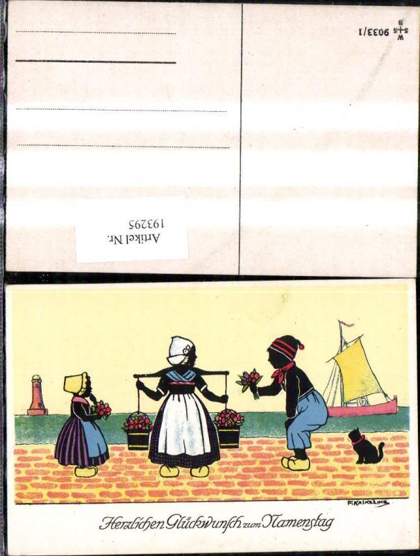 193295,Künstler Ak F. Kaskeline Scherenschnitt Silhouette Frau Mann Kind Kübel Eimer Blumen Segelschiff Katze Leuchttu