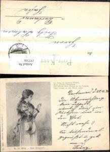193306,Künstler Ak R. de Witt Das Ringlein Frau m. Hut Ring Spruch Text