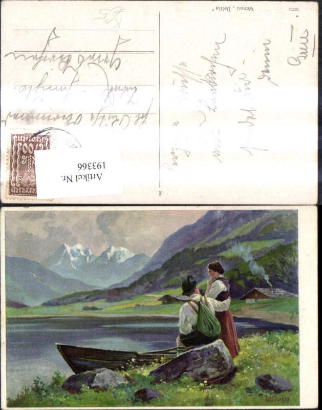 193366,Künstler Ak W. Merker Wenau Delila Frau Mann Tracht a. See Berge Ruderboot Boot