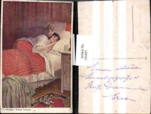 193497,Künstler AK C. Benesch Süßes Träumen Frau b. Schlafen Schuhe Mann