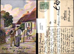 193505,Künstler AK H. Kopp Feierabend in Thüringen Männer m. Pfeife
