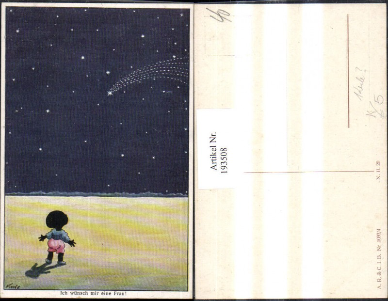 """193508,Künstler AK Korle """"Ich wünsch mir eine Frau!"""" Kind Sternschnuppe Sterne"""