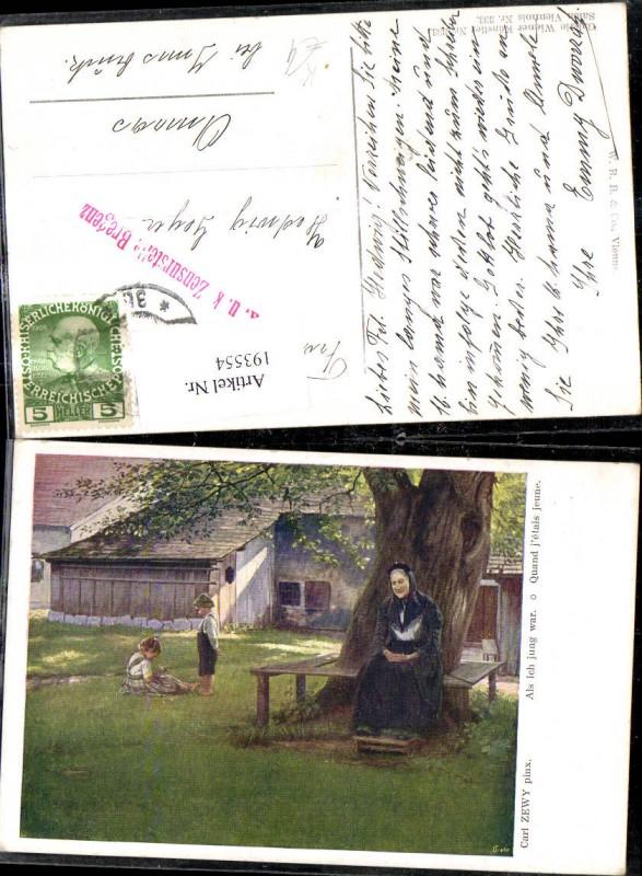 193554,Künstler Ak Carl Zewy Als ich jung war Alte Frau sitzt unter Baum Kinder a. Wiese Garten
